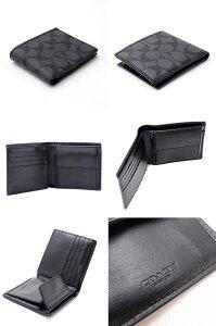 コーチCOACH財布メンズ二つ折り財布小銭入れ付シグネチャー75006CQBKブランド人気
