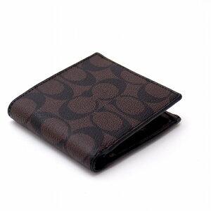 コーチCOACH財布メンズ二つ折り財布小銭入れ付シグネチャー75006MABRブランド人気