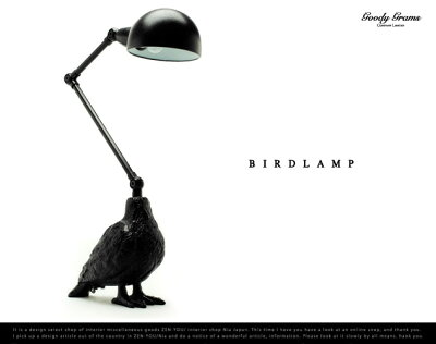 ランプ+鳥。ゴシックな雰囲気を醸し出す不思議なランプ