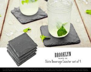 Slate Beverage Coaster set of 4 / スレートビバレッジコースター4枚セット Brooklyn Slate ブルックリン スレート コースター プレート チーズ 粘板岩【あす楽対応_東海】