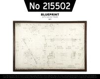【No215502】VINTAGEBLUEPRINTFRAME/ビンテージブループリントフレームINIT/イニット設計図1970年代W104cm×H71cm×D2cmウォールナットフレーム什器