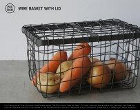 WIREBASKETWITHLID/ワイヤーバスケットウィズリッドPUEBCO/プエブコ蓋付きスチール収納カゴかご