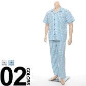 大きいサイズ メンズ HANG TEN (ハンテン) 背中メッシュ使い チェック柄半袖パジャマ 胸ポケット ズボン前開き キングサイズ 寝間着 ねまき 部屋着 サカゼン 楽天カード分割 05P03Dec16