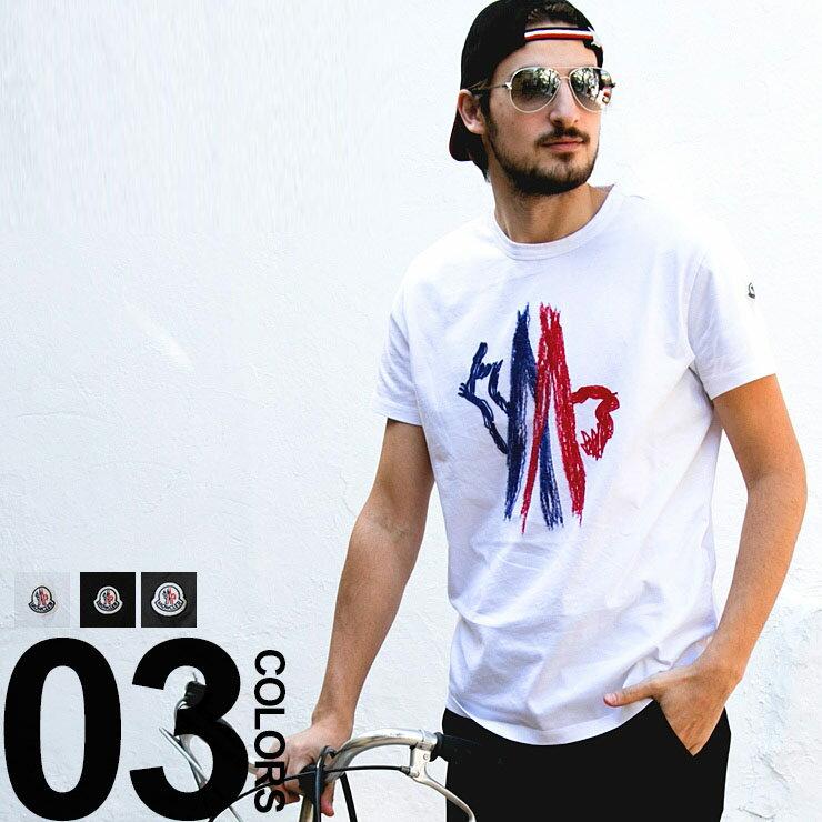モンクレール MONCLER Tシャツ ロゴ刺繍 クルーネック 半袖 ブランド メンズ 男性 カジュアル トップス ティーシャツ コットン MC80350508390T 【zenonline】:ゼンオンライン