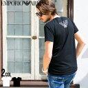 【商品タグ一部紛失の為/ホワイトM/ブラックXL】エンポリオアルマーニ EMPORIO ARMANI Tシャツ 胸ロゴ Vネック 半袖 アンダーTシャツ ブランド メンズ カジュアル EA110810CC735