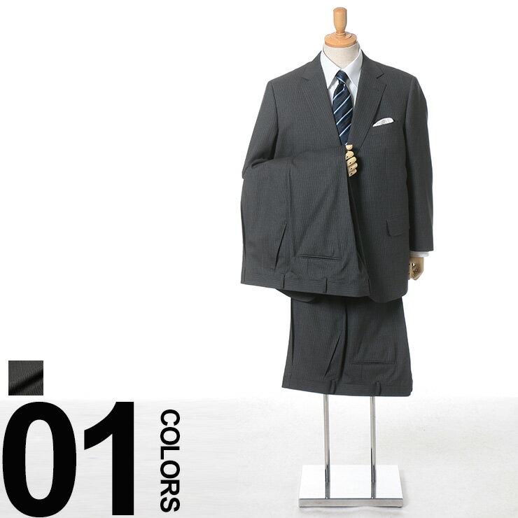 大きいサイズ メンズ SAKAZEN (サカゼン) ウール100% マルラーネ生地 ピンストライプ シングル 2ツ釦 ワンタック ツーパンツ スーツ ビジネス シングルスーツ 2パンツ ウール:ゼンオンライン