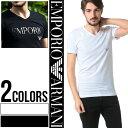 アルマーニ tシャツ エンポリオアルマーニ EMPORIO ARMANI ロゴ Vネック 半袖 Tシャツ Tシャツ ブランド メンズ ティーシャツ コットン ストレッチ 【EA110810CC716】