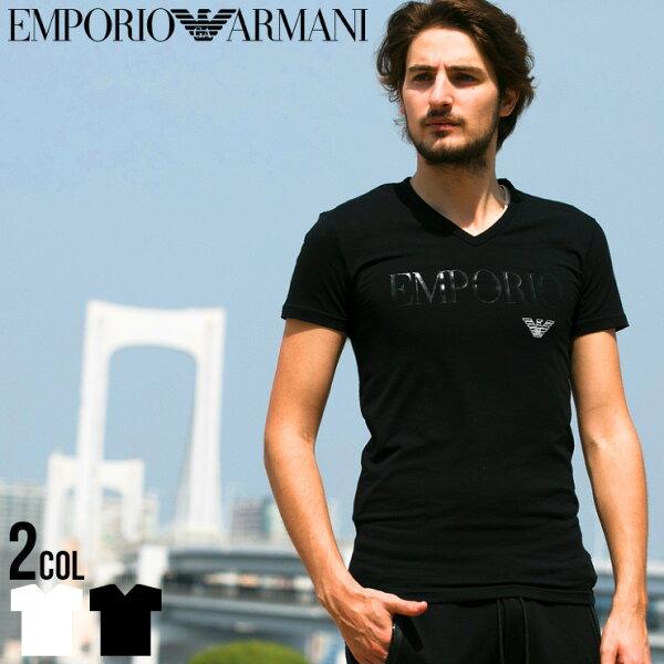 アルマーニtシャツエンポリオアルマーニEMPORIOARMANIロゴVネック半袖TシャツTシャツブランドメンズストレッチEA11
