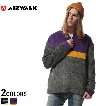 AIRWALK エアウォーク シャギーボアジャケット メンズ 切り替え ハーフジップ ジャケットメンズ カジュアル 男性 ファッション トップス かぶり ロゴ もこもこ 暖か 秋冬 84737543