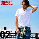 ディーゼル DIESEL Tシャツ 半袖 ロゴ刺繍 Vネック ブランド メンズ トップス 無地 DSSH6AQAQU