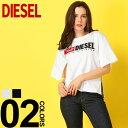 ディーゼル DIESEL レディース Tシャツ スリット ロゴ刺繍 半袖 ブランド トップス カットソー クルーネック DSSPB9CATJ