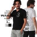 当店独占販売 1PIU1UGUALE3 RELAX ウノ ピュ ウノ ウグァーレ トレ リラックス Tシャツ 半袖 ラインストーン バックプリント Vネック メンズ トップス 1PRUST938SZ
