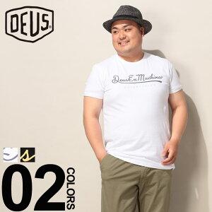 大きいサイズ メンズ Deus Ex Machina (デウスエクスマキナ) 綿100% ロゴプリント クルーネック 半袖 Tシャツ カジュアル トップス シャツ プリント コットン シンプル 春夏 DMS81709DD22