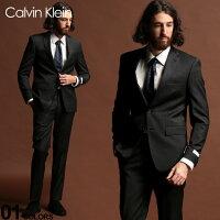 カルバンクライン スーツ CK Calvin Klein ストレッチ ウール混 ピンストライプ シングル 2ツ釦 2B DARKGRAY SLIM FIT ブランド メンズ ウール ノータック CKMABRY5UZX171 SALE_2_d