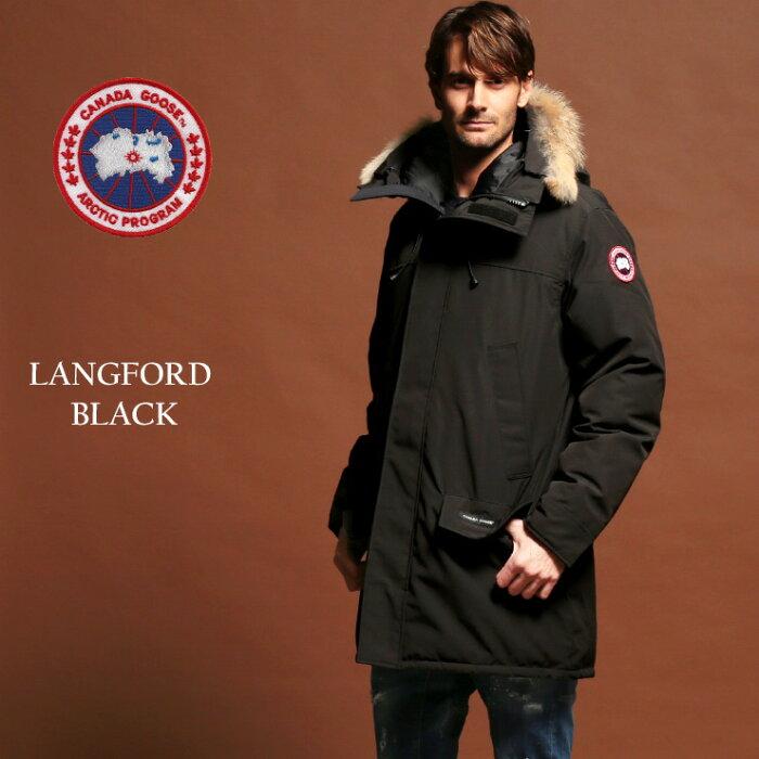 カナダグース ダウン メンズ CANADA GOOSE ファーフード パーカー ダウンジャケット LANGFORD ラングフォード BLACK ブランド ハーフ丈 CG2062M