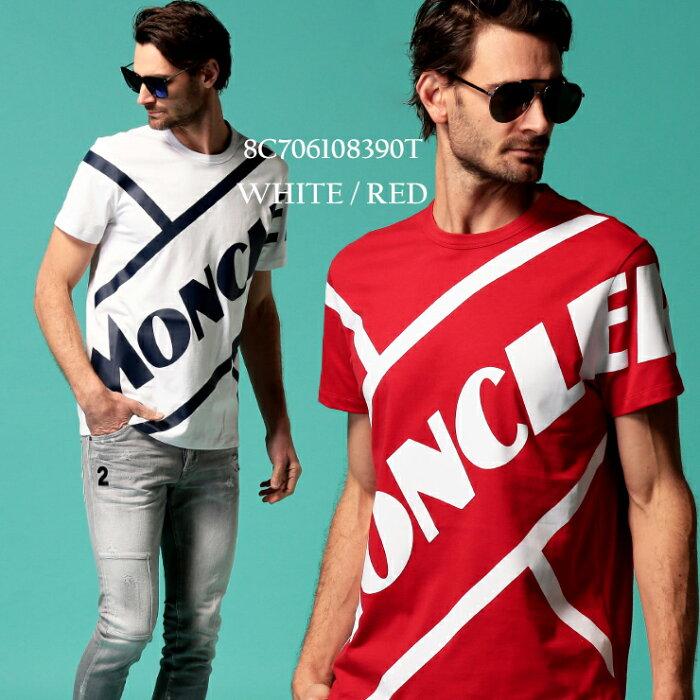 モンクレール メンズ Tシャツ MONCLER 半袖 ロゴ プリント クルーネック ブランド トップス ロゴT 赤 白 MC8C706108390T SALE_1_a