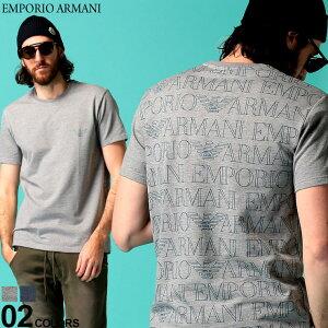 エンポリオ アルマーニ メンズ Tシャツ 半袖 EMPORIO ARMANI ロゴ バックプリント 総柄 クルーネック ストレッチ ブランド トップス EA1117640P566 SALE_1_a