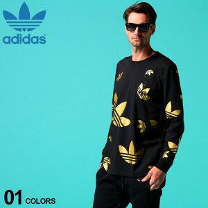 アディダス メンズ Tシャツ 長袖 adidas originals オリジナルス ロンT トレフォイル ロゴ ゴールド 総柄 プリント クルーネック ブランド トップス ロゴT ADFS7327