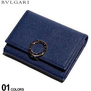 ブルガリ メンズ カードケース BVLGARI レザー ロゴ リング 二つ折り パスケース ブランド 名刺入れ 本革 BLUE DAHLIA BLG36322