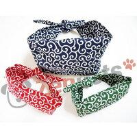 送料無料/犬用アクセサリー和柄からくさ唐草模様冷える風呂敷包み保冷剤付きネッククーラーバンダナサイズ:L/小型犬中型犬
