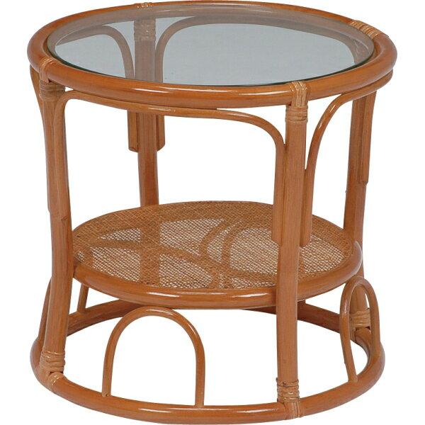 籐製ガラスサイドテーブル(ブラウン)