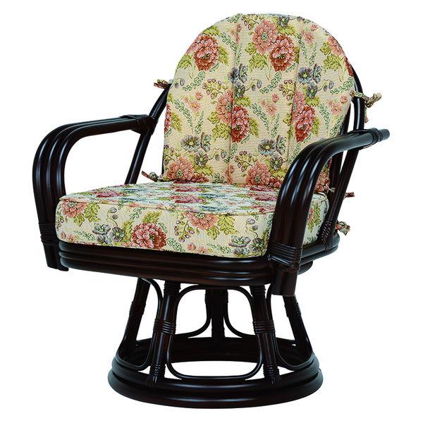 ラタン製ゆったり回転座椅子(ダークブラウン)RZ-933DBR