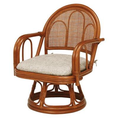 ラタン製回転座椅子ミドルタイプRZ-942BR2脚セット