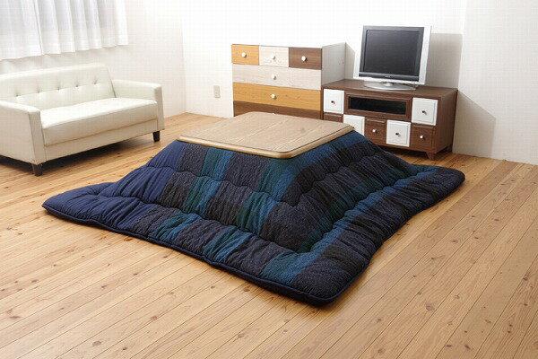 綿100% 無地調 国産 こたつ布団 正方形 掛け単品  『びわ』 ブルー 約205×205cm:送料0円 家具