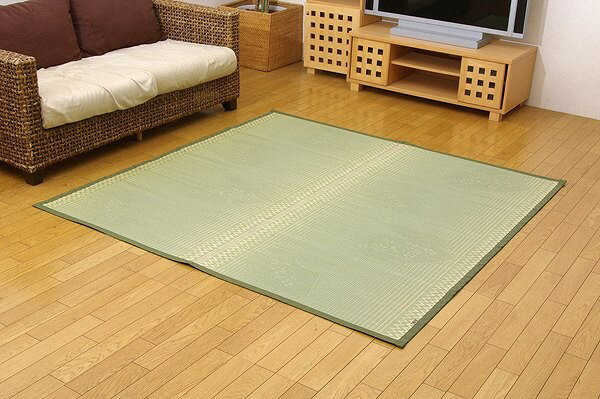 純国産 イ草花ござカーペット 『扇』 本間8畳(約382×382cm):送料0円 家具
