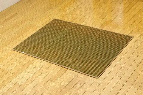 純国産 い草ラグ カーペット シンプル 『Fリブロ』 グリーン 約95×130cm(裏:ウレタン)