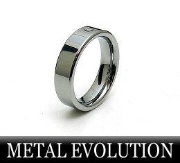 METALEVOLUTION[メタルエボリューション]タングステンリングTSR-004CZブラックメタルカラー-ボールチェーン付-X