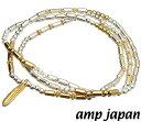 amp japan(アンプジャパン)15AH-435【2Way/ビーズブレスレット&ビーズネックレス】シルバービーズ×ゴールドビーズ/ゴールドフェザー【ギフト包装-対応】アンプジャパン(amp japan)