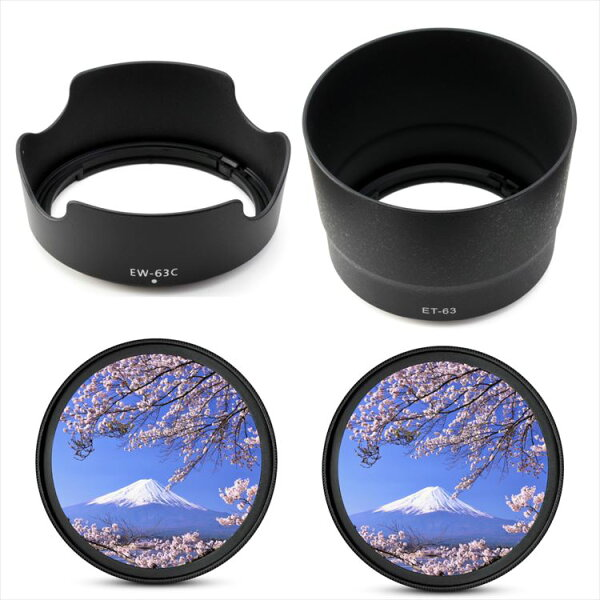 CanonEOSKissX10iX10X9iX9X8iX7iダブルズームレンズキット用互換レンズフードEW-63CET-6358