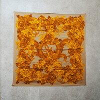 【中古】【良い】 シャネル Chanel  ココマーク カメリア スカーフ ショール 大判ショール レディース 花柄 シルク ブラウン ゴールド