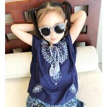 キッズ子供服ボヘミアンTボヘミアントップスナチュラル女の子ガールズ布帛刺繍入りトップスジュニア120cm130cm140cm150cm160cm「R39-01」