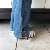 キッズ子供服デニムワイドパンツアンクル丈ナチュラル女の子ガールズジュニア120cm130cm140cm150cm160cm「R39-16」