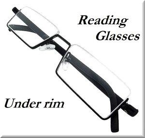 [ZIG's]◆お洒落 〜 アンダーリム(ハーフリム)/老眼鏡(リーディンググラス)/メタル・マットブラック/携帯用コンパクト、専用ハードケース付/メンズ・レディース・ユニセックス/高品質◆glrm01bla