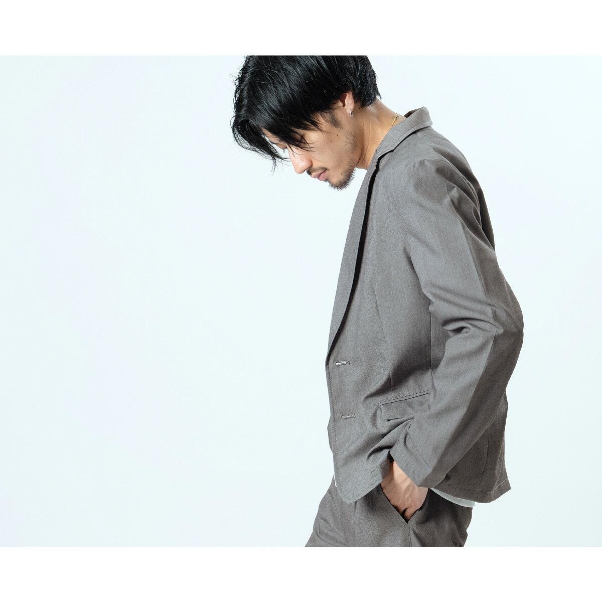 セットアップ メンズ 上下セット テーラードジャケット スラックス アウター パンツ 無地 ストレッチ スーツ ZIP ジップ  【zp-setup008】D