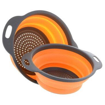 折りたたみ可能 シリコン ザル 2個セット 水切り 野菜 フルーツ 洗浄 バスケット ストレーナー キッチンツール