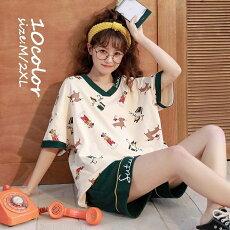 パジャマルームウェアレディース春夏半袖パジャマショットパンツルームウェア上下セット可愛い韓国風パジャマ女性部屋着寝巻き10色新作W-361