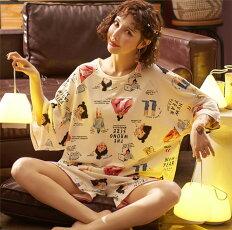 送料無料 レディース パジャマ セットアップ 半袖  部屋着 Tシャツ 短パン ルームウェア 可愛い  ゆったり 寝巻き 女性用 コットン 寝間着 おしゃれ(W-68)
