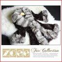 【zoeeの毛皮】ラビットファーコートボリューミーシルバーフォックスファー使用七分袖146ダークブラウン【10P10Jan15】