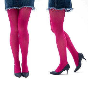 カラータイツ ピンク 80デニール マチ付き ゾッキ編み 発色きれい レディースタイツ M-Lサイズ コスプレ メール便 zokke