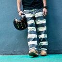 【送料無料】PROVIDER(プロバイダー)囚人 パンツ ボーダー 柄 メンズ 白黒 しましま ズボ...