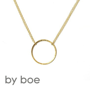 ≪by boe≫ バイ・ボーエッチングサークルプレート ゴールド ダブルチェーンネックレス Plate Necklace (Gold)【レディース】【楽ギフ_包装】