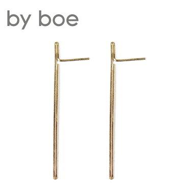 【再入荷】≪by boe≫ バイ・ボーライナースタッドピアス Large Linear Earrings (Gold)【レディース】