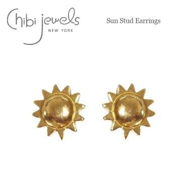 【再入荷】【全品10%OFF】≪chibi jewels≫ チビジュエルズボヘミアン 太陽モチーフ サークル スタッズピアス Sun Stud Earrings (Gold)【レディース】