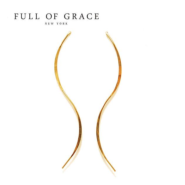 【再入荷】【今だけ10%OFF】≪FULL OF GRACE≫ フルオブグレイスウェーブ ワイヤー ロング スタッズピアス Wave Long Earrings (Gold)【レディース】 ワンマイルコーデ