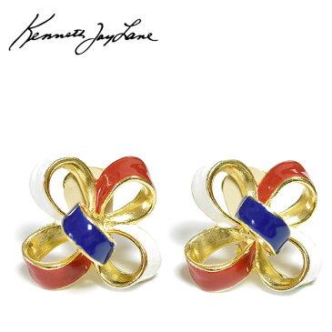 ≪Kenneth Jay Lane≫ ケネス・ジェイ・レーンホワイト ブルー レッド リボン イヤークリップ イヤリング ヴィンテージ Vintage Ribbon Earrings (Gold)【レディース】