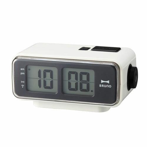 イデアインターナショナル LCDレトロアラームクロック S BRUNO ホワイト BCR003-WHの写真